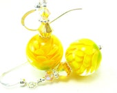 Yellow Glass Flower Earrings, Lemon Yellow Encased Lampwork Bead Earrings Crystal Sterling Silver - Sunflowers