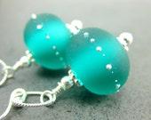 Teal Glass Earrings, Blue Green Lampwork Bead Earrings, Beadowork Earrings, Beaded Earrings, Dangle Earrings, Teal Earrings - Simplicity