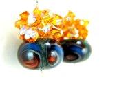 Amber Orange Blue Boro Lampwork Earrings, Navy Blue Glass Bead Earrings, Crystal Cluster Earrings, Beadwork Earrings - Playing With Fire