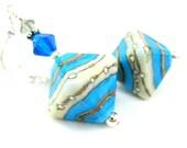Turquoise Blue White Glass Earrings, Lampwork Earrings, Triangle Earrings, Blue Gray Earrings, Geometric Dangle Earrings - Rhythm and Blues