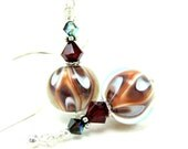 Chocolate Brown Glass Bead Earrings, Brown Rust Red White Lampwork Earrings, Brown and White Earrings - Hot Fudge Sundae