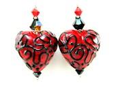 Red Black Heart Earrings, Valentine's Day Earrings, Heart Lampwork Glass Bead Earrings, Valentine Jewelry, Dangle Earrings - Red Hot Heart