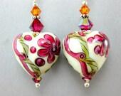 Heart Earrings, Valentine's Day Earrings, Lampwork Earrings, Fuchsia Pink White Earrings, Glass Earrings, Heart Jewelry - One True Love