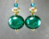 Teal Earrings, Teal Green Hollow Glass Bead Earrings, Teal Green Lampwork Earrings, Blown Glass Earrings - Green Lantern