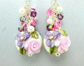 Pastel Floral Lampwork Earrings, Beadowork Earrings, Pink Rose Purple Ivory Glass Bead Earrings, Dangle Earrings -  Lovely Present