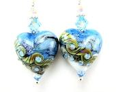 Ice Blue Heart Earrings, Blue Lampwork Glass Bead Earrings, Light Blue Earrings, Beadwork Earrings, Dangle Earrings - Heart Of Ice