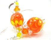 Orange Yellow Glass Earrings,  Bright Orange Yellow Lampwork Bead Earrings, Tangerine Earrings, Orange Earrings - A Splash of Sunshine