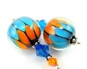 Orange Turquoise Earrings, Beadwork Earrings, Blue Orange Lampwork Earrings, Glass Bead Earrings, Dangle Earrings - Electric Avenue