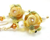 Gold Rose Glass Bead Earrings, Gold Yellow Floral Lampwork Bead Earrings, Yellow Flower Earrings, Yellow Rose Earrings - Golden Roses