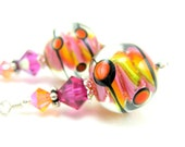 Pink Yellow Orange Glass Bead Earrings, Hot Pink Yellow Orange Polka Dot Lampwork Bead Earrings, Neon Earrings - Gum Ball Machine
