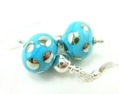 Turquoise Blue Polka Dot Earrings, Blue Silver Lampwork Earrings, Beadwork Earrings, Blue Glass Dangle Earrings - Shiny and Happy