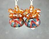 Colorful Boro Glass Bead Earrings, Crystal Cluster Earrings,  Blue Red Green Copper Lampwork Earrings, Beadwork Earrings - Shenanigans