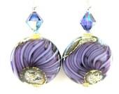 Purple Earrings, Purple Glass Bead Earrings, Purple Swirl Lampwork Earrings, Sterling Silver Earrings, Fall Earrings - Purple Splash