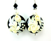 Black White Glass Bead Earrings, Black Ivory Rose Lampwork Bead Earrings, Black and White Earrings - Prom Night