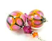 Hot Pink Orange Beadwork Earrings, Bright Pink Orange Lampwork Earrings, Dangle Earrings, Colorful Glass Bead Earrings - Tutti Fruitti