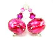 Hot Pink Glass Earrings, Lampwork Earrings, Beadwork Earrings, Fuchsia Earrings, Pink Earrings, Dangle Earrings - Hot Pink Lightening
