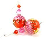 Orange & Hot Pink Earrings, Neon Jewelry, Lampwork Earrings, Tropical Bright Colors Glass Dangle Earrings Fun Jewelry - Tangerine Tango