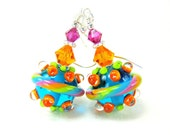 Colorful Beadwork Earrings, Summer Earrings, Neon Blue Orange Green Pink Lampwork Bead Earrings, Neon Earrings - Neon Spaceship