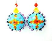Colorful Glass Earrings, Bright Colorful Jewelry, Lampwork Earrings, Turquoise Blue Yellow Earrings, Dangle Earrings Fun Jewelry - Aztec Sun