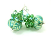 Mint Green Glass Earrings, Mint Green Cream Boro Lampwork Bead Earrings, Green Crystal Earrings - Crème De Menthe