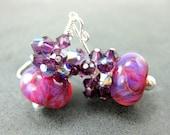 Purple Glass Bead Earrings, Hot Pink Purple Violet Boro Lampwork Earrings, Purple Earrings, Boho Earrings - Cherry Raspberry Jam