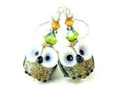 Owl Earrings, Amber Brown Owl Lampwork Bead Earrings, Owl Glass Bead Earrings, Bird Earrings - Daisy & Dolly