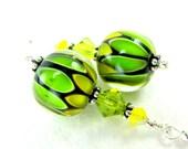Glass Bead Earrings, Lime Green Yellow Lampwork Earrings, Yellow Earrings, Lime Green Earrings, Summer Earrings - Lemon Lime Pop