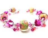 Hot Pink Orange Glass Bracelet, Fuchsia Orange Yellow Green Boro Lampwork Bracelet, Beadwork Bracelet, Colorful Bracelet - Bahama Mama