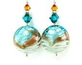 Aqua White Venetian Glass Bead Earrings, Aqua White Copper Murano Glass Bead Earrings, Seafoam Earrings, Mint Earrings - Gentle Waves