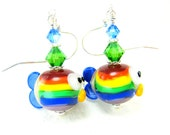 Rainbow Fish Earrings, Fish Lampwork Bead Earrings, Rainbow Glass Fish Earrings, Rainbow Earrings, Colorful Fish Earrings - Rainbow Trout