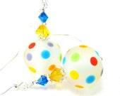 Colorful Polka Dot Earrings, Rainbow Earrings, Beadwork Earrings, Lampwork Earrings, Glass Earrings, Dangle Earrings - Circus Clowns