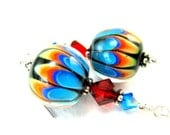 Rainbow Earrings, Beadwork Earrings, Rainbow Lampwork Earrings, Glass Bead Earrings, Colorful Earrings, Dangle Earrings - Electric Rainbow
