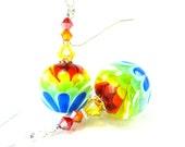 Rainbow Flower Earrings, Rainbow Earrings, Colorful Encased Lampwork Bead Earrings, Beadwork Earrings, Spring Earrings - Be Happy