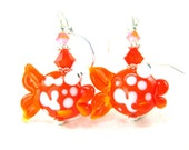 Goldfish Earrings, Orange White Fish Lampwork Bead Earrings, Glass Fish Earrings, Goldfish Lampwork Earrings -  Kissing Goldfish