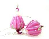 Bright Pink Flower Earrings, Bright Pink Tulip Earrings, Pink Tulip Lampwork Earrings, Pink Glass Earrings, Rose Earrings - Tulip Treasures