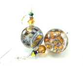 Topaz Black Murano Earrings, Amber Blue Black Venetian Glass Earrings, Beadwork Earrings, Amber Earrings, Dangle Earrings - Taxi Cab