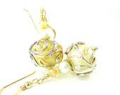 Ivory Glass Earrings, Beadwork Earrings, Ivory Gold Lampwork Glass Bead Earrings Dangle Earrings, Pearl Earrings, Ivory Earrings - Innocence