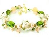 Peach Rose Bracelet, Peach White Green Glass Bead Bracelet, Peach White Floral Lampwork Bracelet, Mother's Day Bracelet - Romantic Summer
