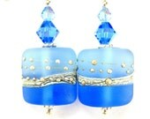 Blue Earrings, Blue Glass Bead Earrings, Azure Blue Silver Etched Lampwork Earrings, Summer Earrings - Blue of Winter
