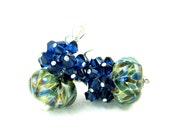 Navy Blue Crystal Earrings, Dark Blue Green Earrings, Boro Lampwork Earrings, Beadwork Earrings, Glass Earrings Cluster Earrings Congo River