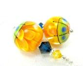 Yellow Lampwork Earrings, Orange Yellow Flower Earrings, Orange Yellow Blue Encased Flower Earrings, Summer Earrings - Gerbera Daisies