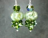Boro Lampwork Earrings, Green Glass Earrings, Olive Green White Glass Bead Earrings, Green Earrings, Crystal Earrings - Evergreen