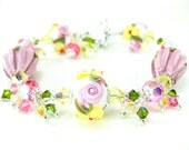 Pink Yellow Floral Bracelet, Lampwork Bracelet, Nature Jewelry, Roses Pastel Flowers Romantic Garden Cottage Chic Glass - Buttercups & Roses