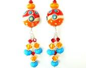 Orange Earrings, Abstract Lampwork Earrings, Orange Turquoise Red Glass Bead Earrings, Funky Earrings, Dangle Earrings - On the Bright Side