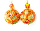 Orange Murano Earrings,  Orange Gold Green Venetian Glass Bead Earrings, Orange Earrings, Fall Earrings, Fall Colors - Great Balls of Fire