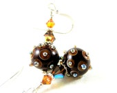 Brown Lampwork Earrings, Brown Copper Silver Glass Earrings, Bumpy Earrings, Brown Earrings - Rivetting