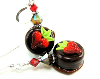 Chocolate Candy Earrings, Food Earrings, Strawberry Earrings, Lampwork Earrings, Food Jewelry, Glass Earrings  - Strawberries