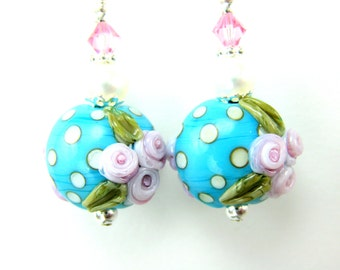 Polka Dot Earrings, Turquoise Blue & Pink Earrings, Cottage Chic Jewelry, Floral Lampwork Earrings, Retro Glass Earrings - Perky Polka Dots