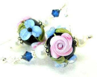Rose Earrings, Pink & Blue Floral Earrings, Lampwork Earrings, Flower Earrings, Pearl Earrings, Dangle Earrings  - How Sweet It Is
