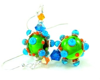 Funky Earrings, Green Glass Earrings, Bumpy Lampwork Earrings, Colorful Jewelry, Neon Earrings, Beadwork Earrings, Dangle Earrings - Dots